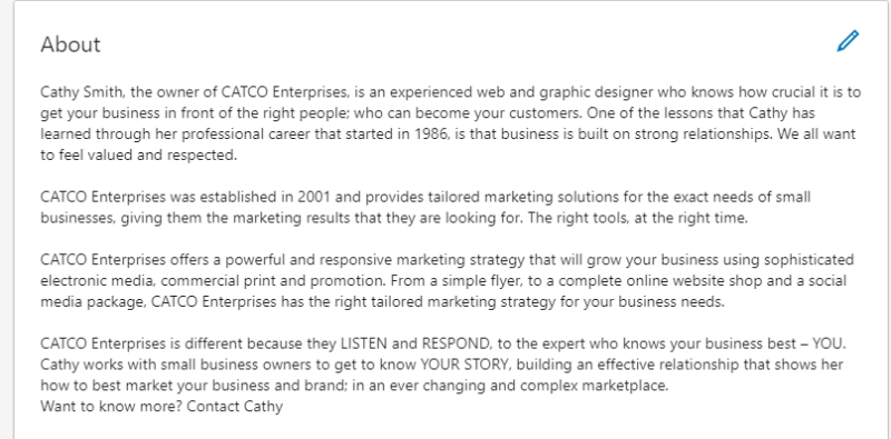 Cathy LinkedIn About