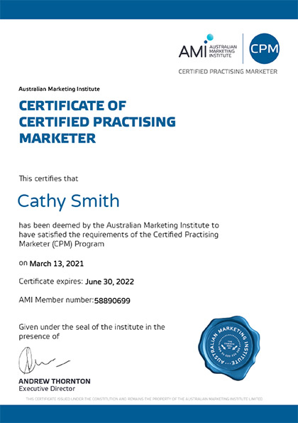 Certified Practising Marketer Certificate - Cathy Smith