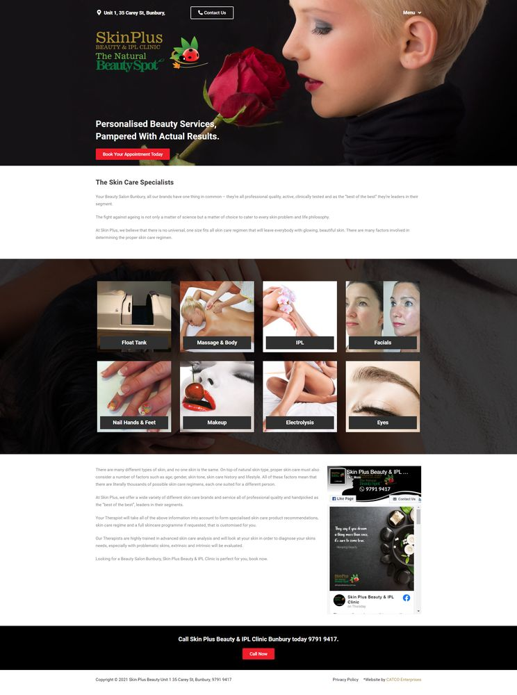 the skin plus and natural beauty spot web page